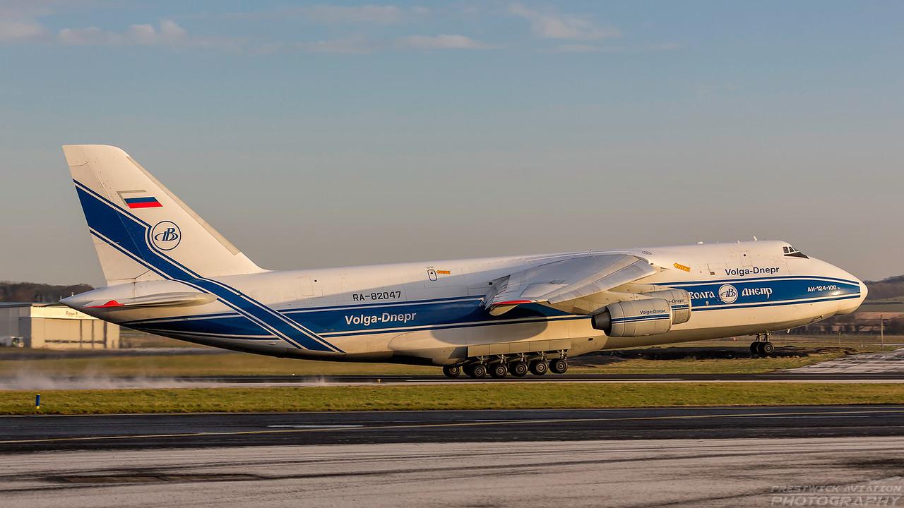 RA-82047. Antonov An-124-100 Ruslan. Volga Dnepr Airlines. Prestwick. 090118.