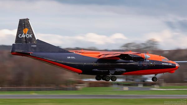UR-CKL. Antonov An-12B. Cavok Air. Prestwick. 231118.