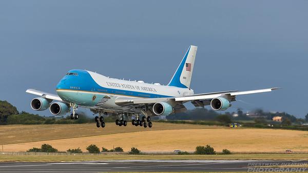 92-9000. Boeing VC-25A. USAF. Prestwick. 140718.