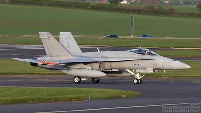 HN-410. McDonnell Douglas F-18C Hornet. Finnish Air Force. Prestwick. 100518.