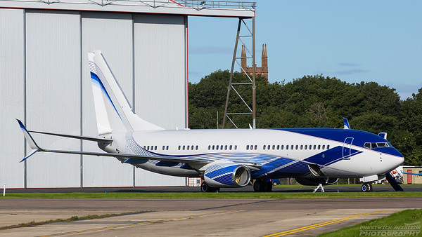 N737M. Boeing 737-8EQ/BBJ. Private. Prestwick. 070918.