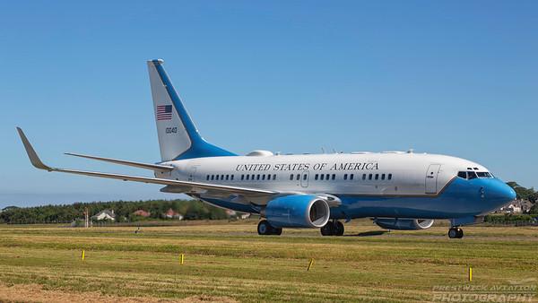 01-0040. Boeing C-40C BBJ. USAF. Prestwick. 300618.