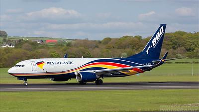 G-NPTA. Boeing 737-86N(BCF). West Atlantic. Prestwick. 170518.