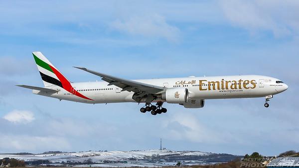 A6-EBN. Boeing 777-36N(ER). Emirates. Prestwick. 010318.