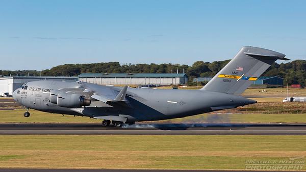 01-0193. Boeing C-17A Globemaster III. USAF. Prestwick. 090718.