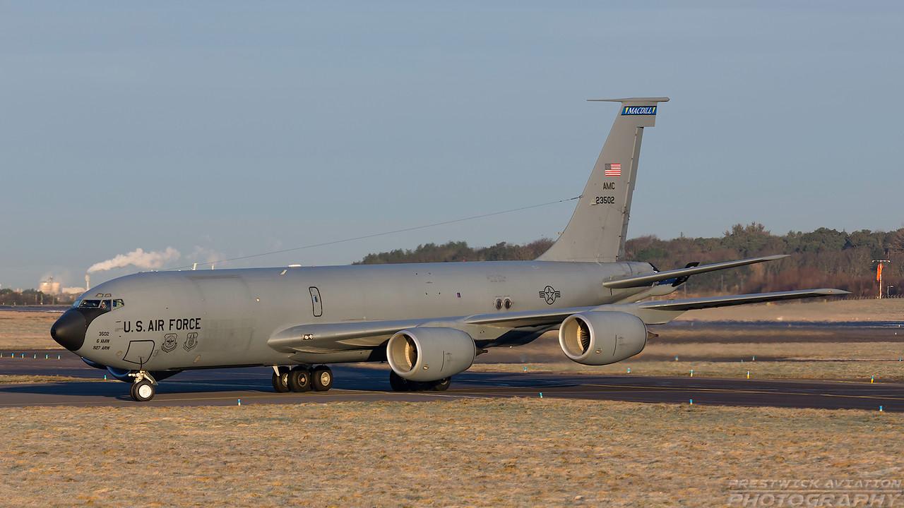 62-3502. Boeing KC-135R Stratotanker. USAF. Prestwick. 070218.