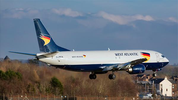 G-JMCK. Boeing 737-4D7(SF). West Atlantic. Prestwick. 241118.