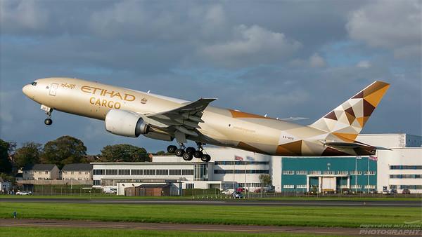 A6-DDD. Boeing 777-FFX. Etihad Cargo. Prestwick. 290818.
