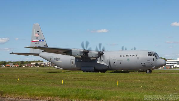 08-5715. Lockheed Martin C-130J-30 Hercules. USAF. Prestwick. 160518.
