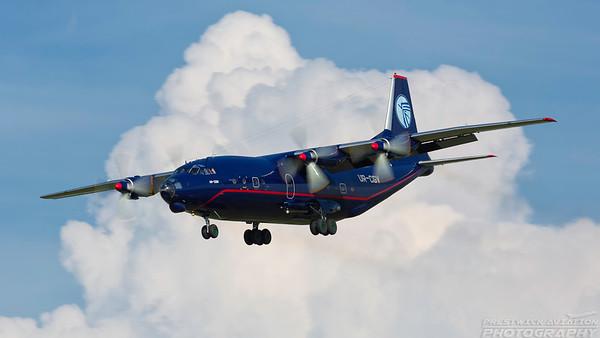 UR-CGV. Antonov An-12BP. Ukraine Air Alliance. Prestwick. 070618.