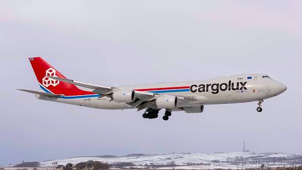 LX-VCG. Boeing 747-8R7F/SCD. Cargolux. Prestwick. 280218.