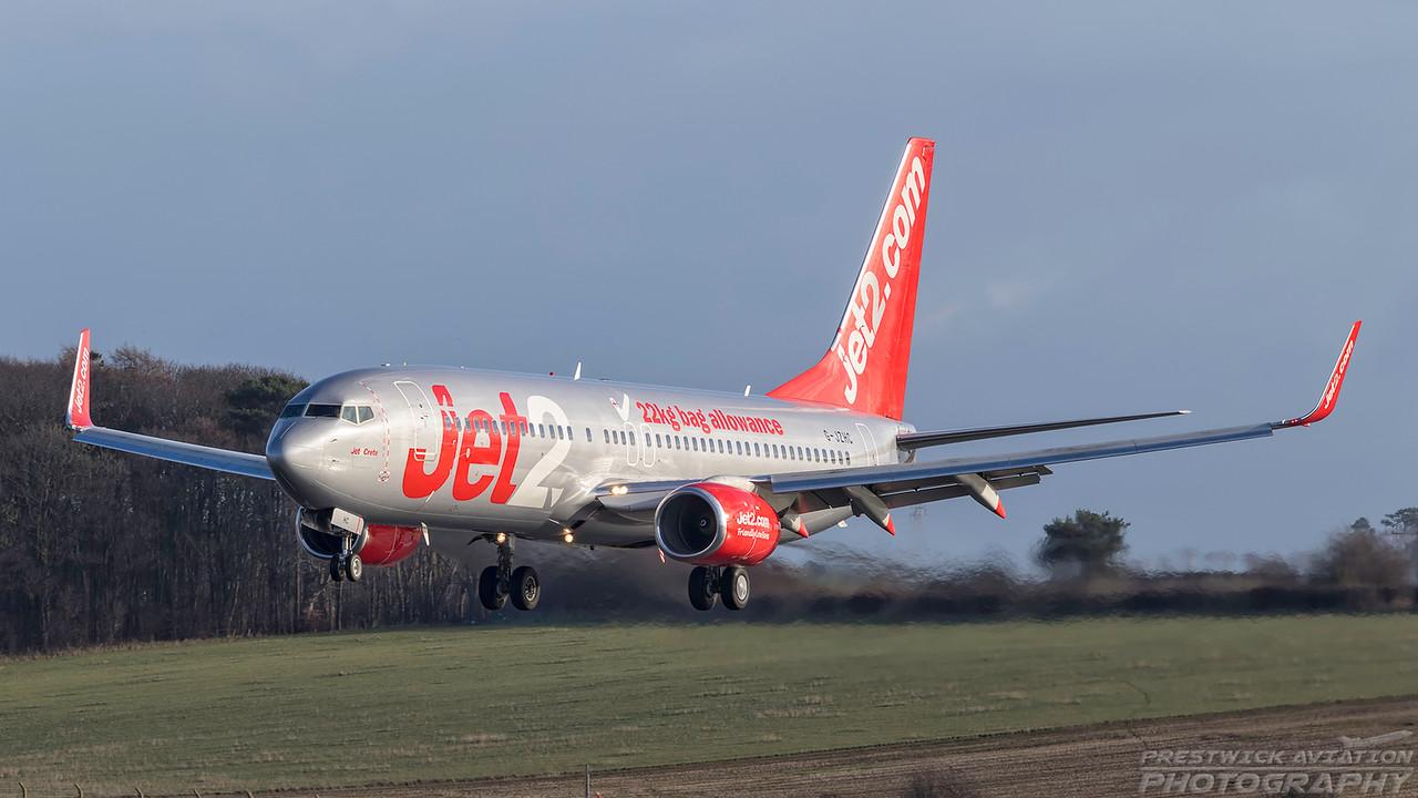 G-JZHC. Boeing 737-8K2. Jet2. Prestwick. 290119.