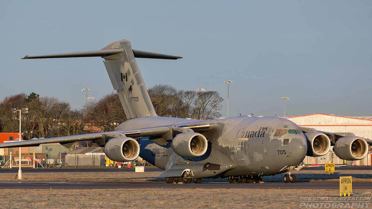 177705. Boeing CC-177 Globemaster III. Canadian Air Force. Prestwick. 070218.