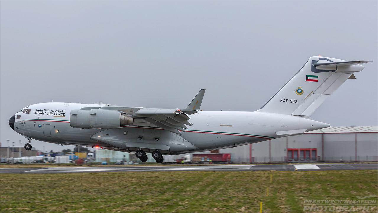 KAF 343. Boeing C-17A Globemaster III. Kuwait Air Force. Prestwick. 140218.