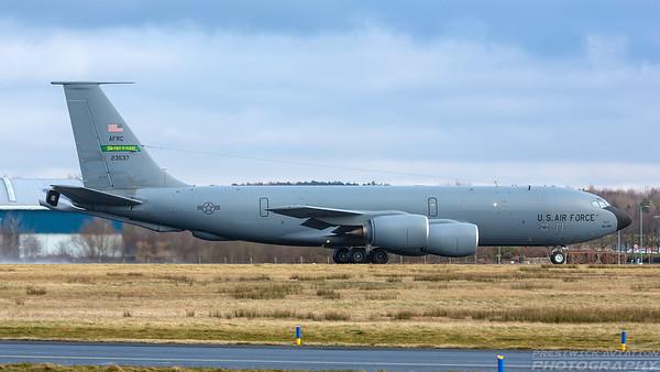 62-3537. Boeing KC-135R Stratotanker. USAF. Prestwick. 050318.