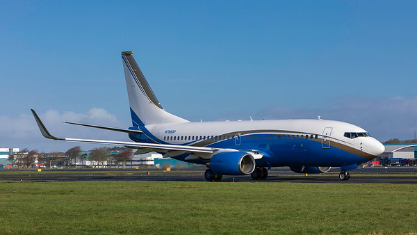N788DP. Boeing 737-79U(BBJ). Private. Prestwick. 230319.