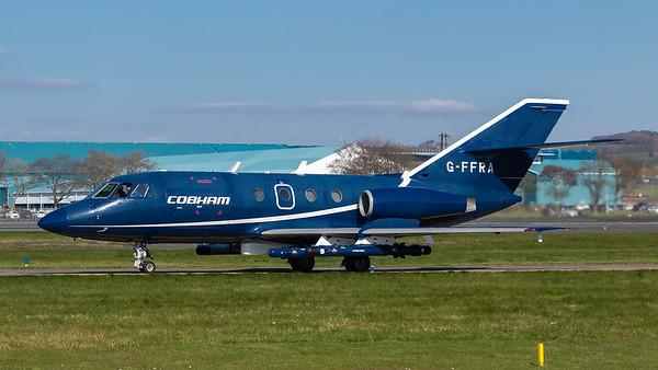 G-FFRA. Dassault Falcon 20. Cobham Aviation Services. Prestwick. 090419.