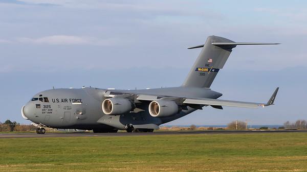 03-3125. Boeing C-17A Globemaster III. USAF. Prestwick. 070419.