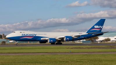 VQ-BWY. Boeing 747-83Q(F). Silkway West Airlines. Prestwick. 260819.