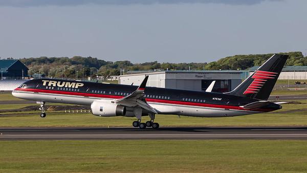 N757AF. Boeing 757-2J4. Trump Corp. Prestwick. 160519.