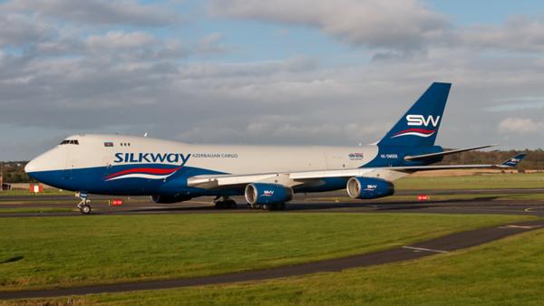 4K-SW008. Boeing 747-4R7(F). Silkway West Airlines. Prestwick. 071019.