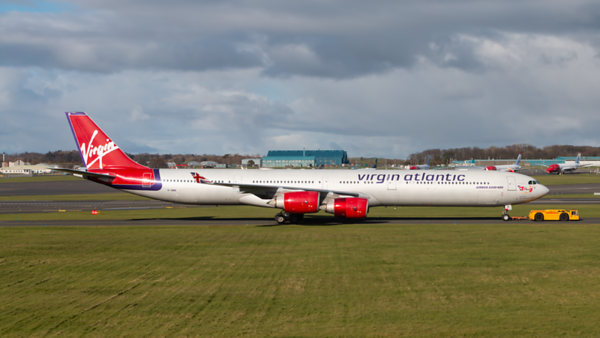 G-VWIN. Airbus A340-642. Virgin Atlantic. Prestwick. 190320.