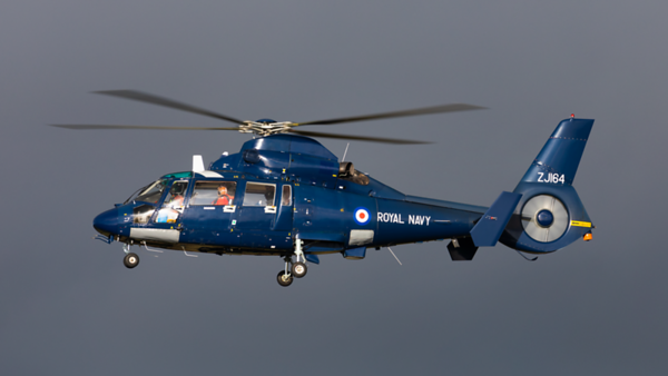 ZJ164. Aerospatiale AS-365N-2 Dauphin 2. Royal Navy. Prestwick. 121020.