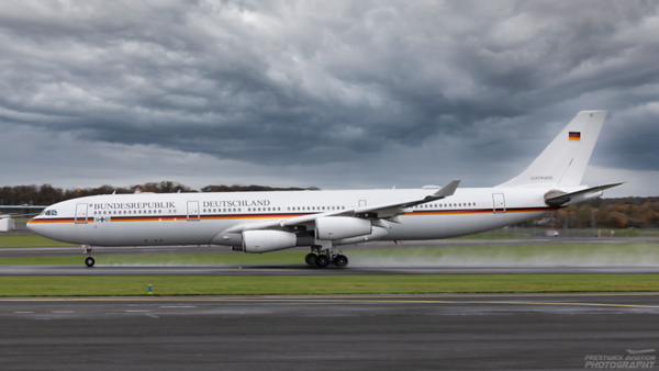 16+01. Airbus A340-313. German Air Force. Prestwick. 221020.