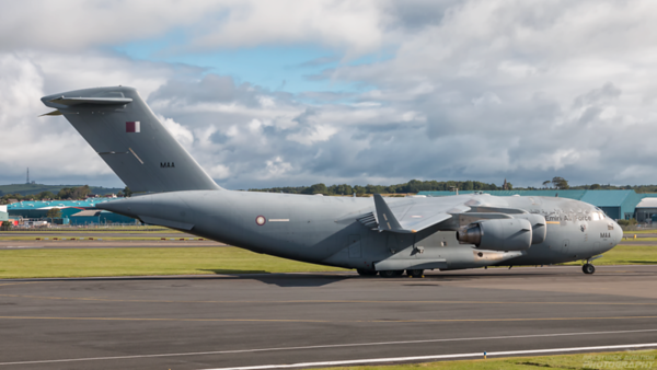 A7-MAA. Boeing C-17A Globemaster III. Qatar Air Force. Prestwick. 110720.