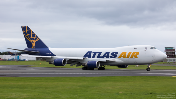 N415MC. Boeing 747-47UF/SCD. Atlas Air. Prestwick. 230820.