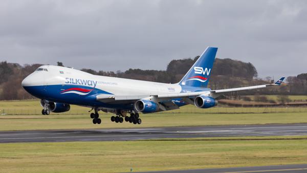 4K-SW888. Boeing 747-4R7(F). Silkway Airlines. Prestwick. 090320.