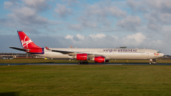 G-VFIT. Airbus A340-642. Virgin Atlantic. Prestwick. 170320.