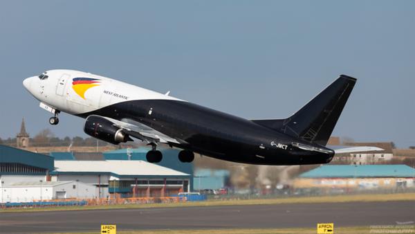 G-JMCT. Boeing 737-3Y0(SF). West Atlantic. Prestwick. 160321.