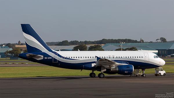 9H-XFW. Airbus A319-112. Hifly Malta. Prestwick. 250821.