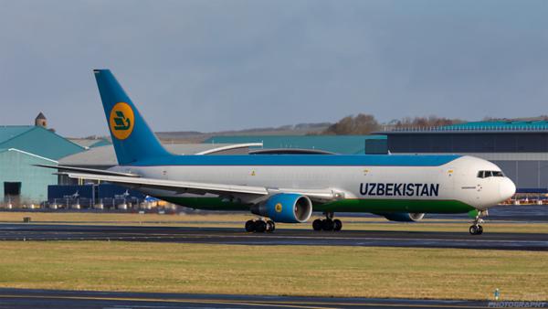 UK67001. Boeing 767-33P(ER)(BCF). Uzbekistan Airlines Cargo. Prestwick. 250221.