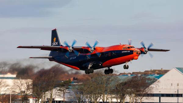 UR-CJN. Antonov An-12B. Cavok Air. Prestwick. 100221.