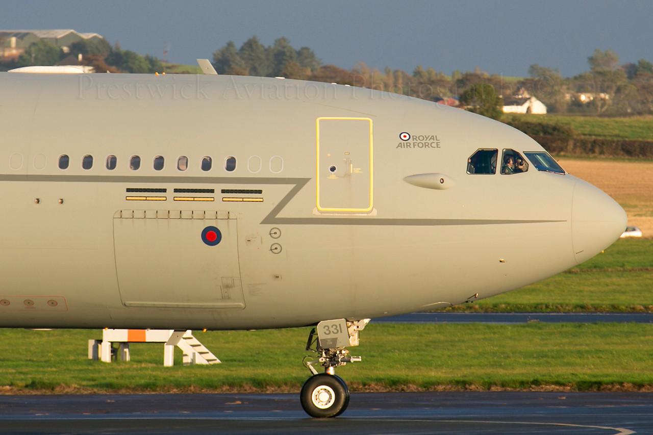 ZZ331. Airbus A330 Voyager KC2. RAF. Prestwick. 171013.