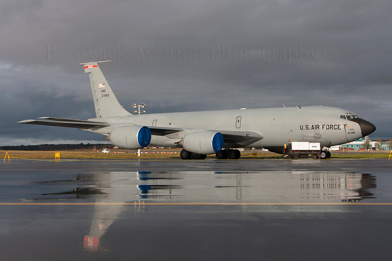 63-7993. Boeing KC-135R Stratotanker. USAF. Prestwick. 311213.<br /> <br /> The perfect end to a fabulous year.