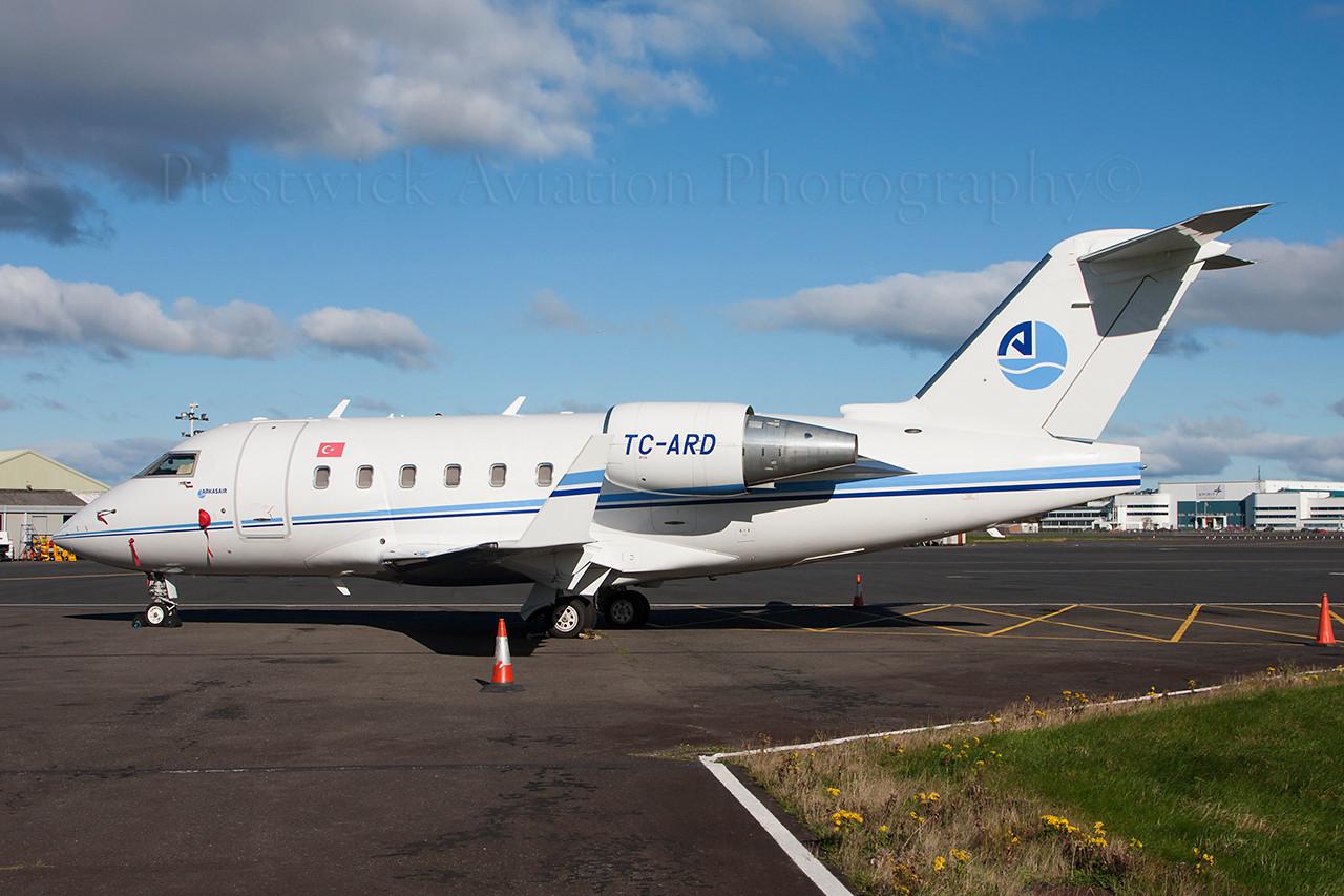 TC-ARD. Canadair CL-600-2B16 Challenger 604. Arkasair. Prestwick.141013.