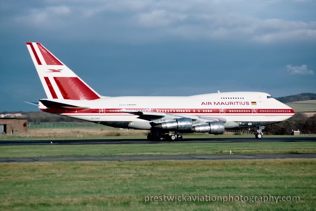 3B-NAG. Boeing 747SP-27. Air Mauritius. Prestwick. November 1988.<br /> <br /> Heathrow diversion.