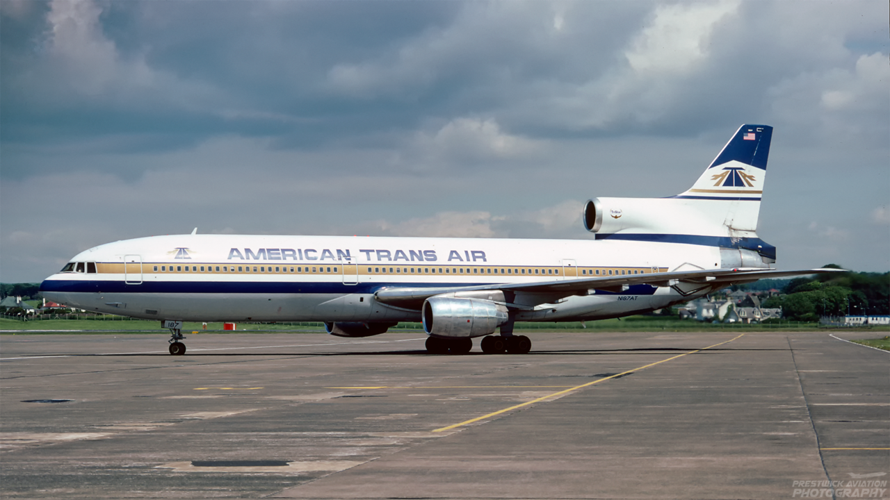 N187AT. Lockheed L-1011-385-1 TriStar 50. American Trans Air. Prestwick. July 1991.