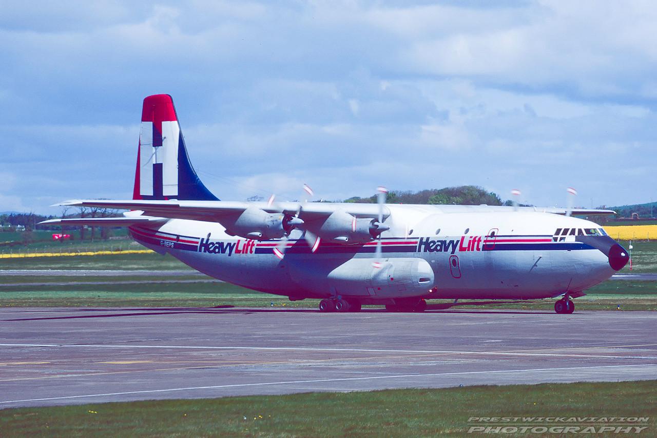 G-BEPS. Short SC-5 Belfast C1. Heavylift. Prestwick. April. 1995.