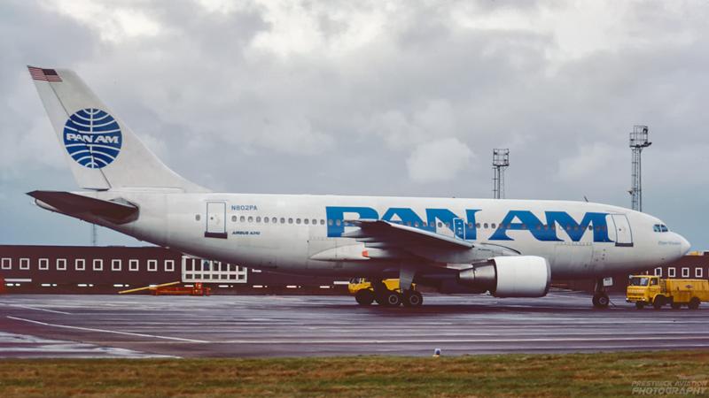 N802PA. Airbus A310-221. Pan Am. Prestwick. December 1988.