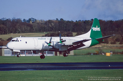 G-OFRT. Lockheed L-118(C)F Electra. Channel Express. Prestwick. April. 1998.