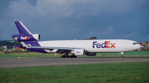 N605FE. McDonnell Douglas MD-11F. FedEx. Prestwick. October. 1997.