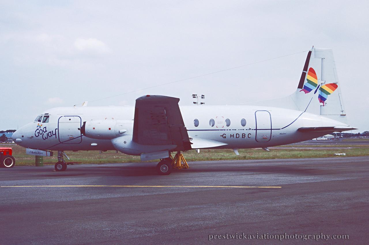 G-HDBC. Hawker Siddeley HS-748 Srs2A. Goa Way. Prestwick. August 1994.