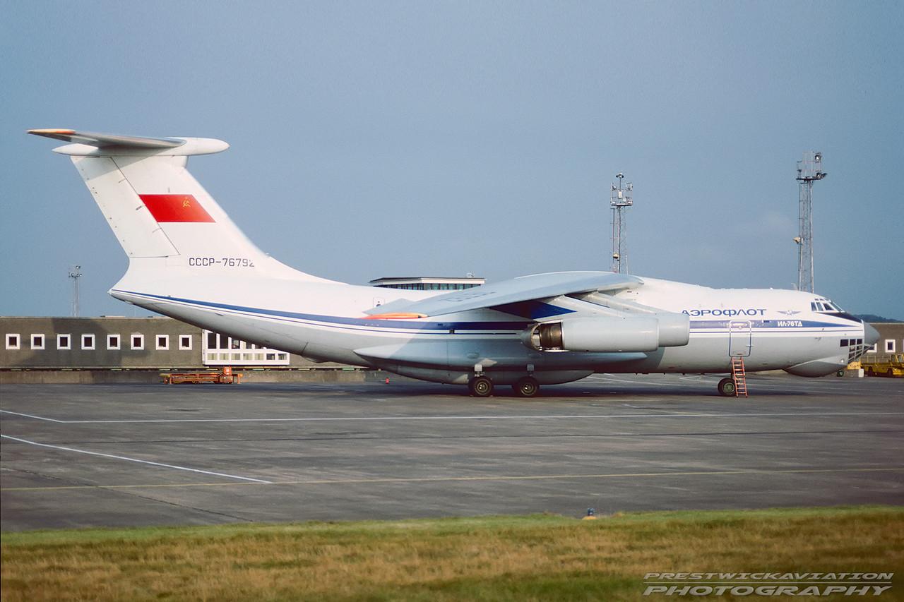 CCCP-76792. Ilyushin IL76TD. Aeroflot. Prestwick. October. 1991.