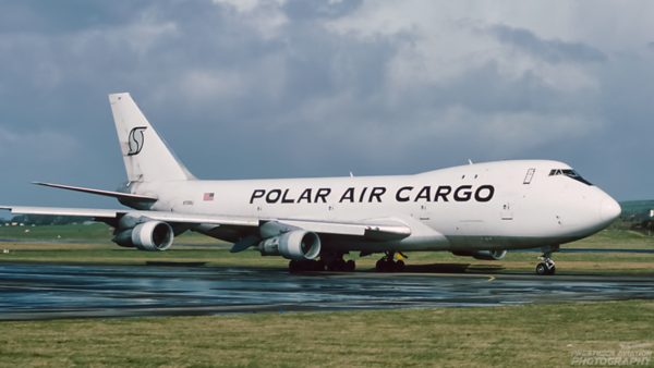 N735SJ. Boeing 747-121(A/SF). Polar Air Cargo. Prestwick. April. 1994.