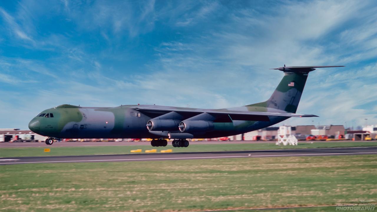 67-0012. Lockheed C141B Starlifter. USAF. Prestwick. May 1988.