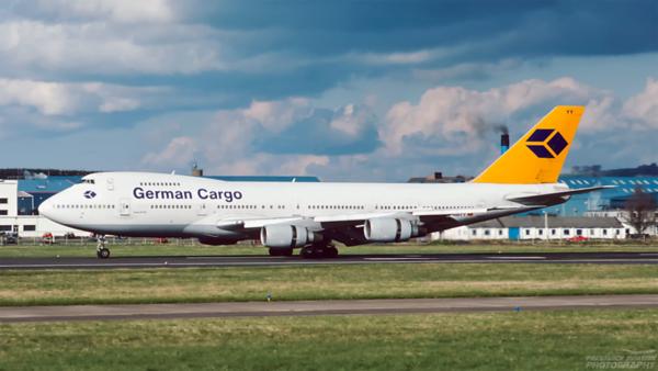 D-ABYY. Boeing 747-230BM(SF). German Cargo. Prestwick. May. 1994.